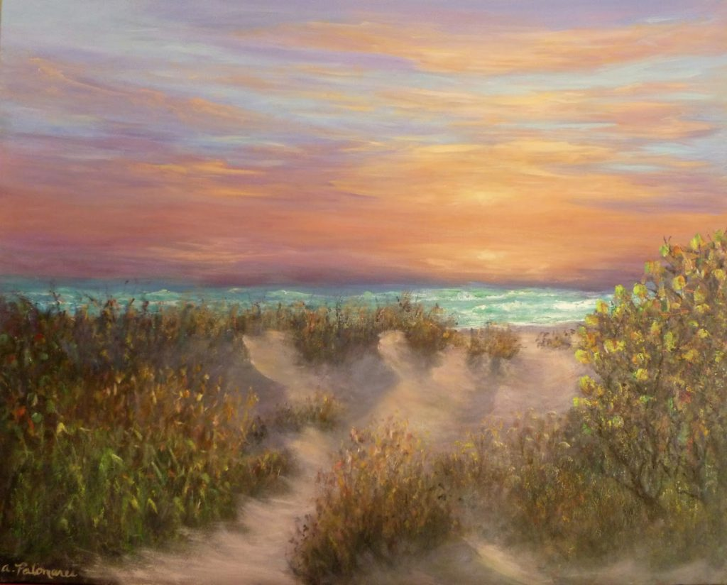 coastal beach painting with sunset ocean