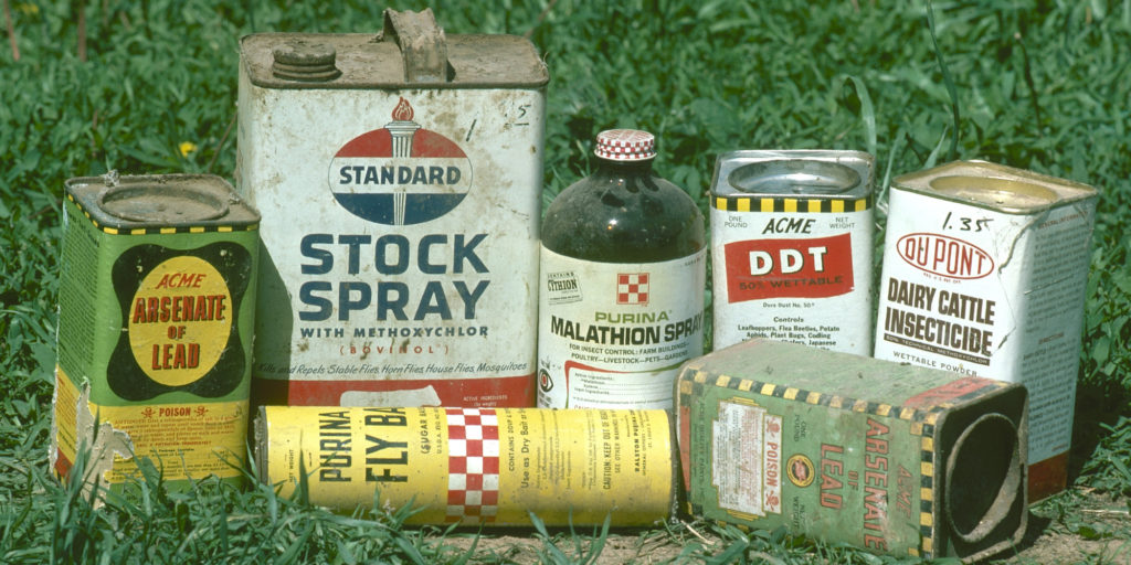 Collection of pesticides, including DDT, that were still in use by some farmers in the 1970's. Photo was taken at a Kansas farm in 1976.
