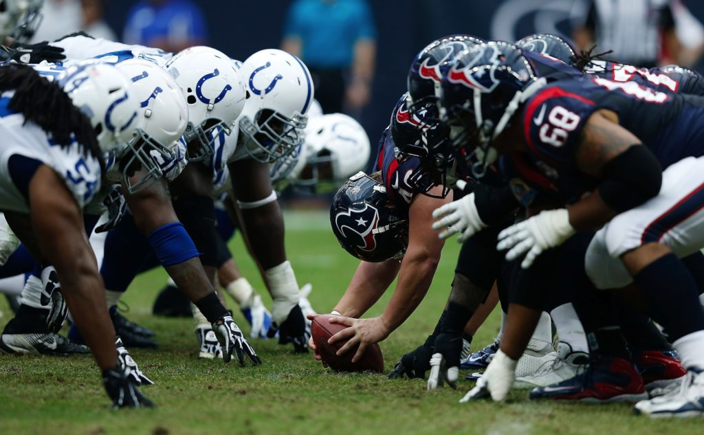HOUSTON, TX - DECEMBER 16:  The line of scrimmage is seen between the Indianapolis Colts and the Houston Texans at Reliant Stadium on December 16, 2012 in Houston, Texas.  (Photo by Scott Halleran/Getty Images)